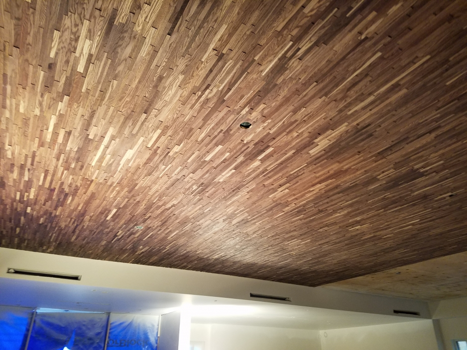 Wood Paneling Creates Warm Texture Ceiling